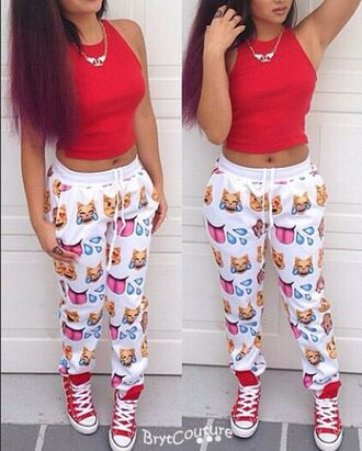 pants sweatpants emoji print emoji pants