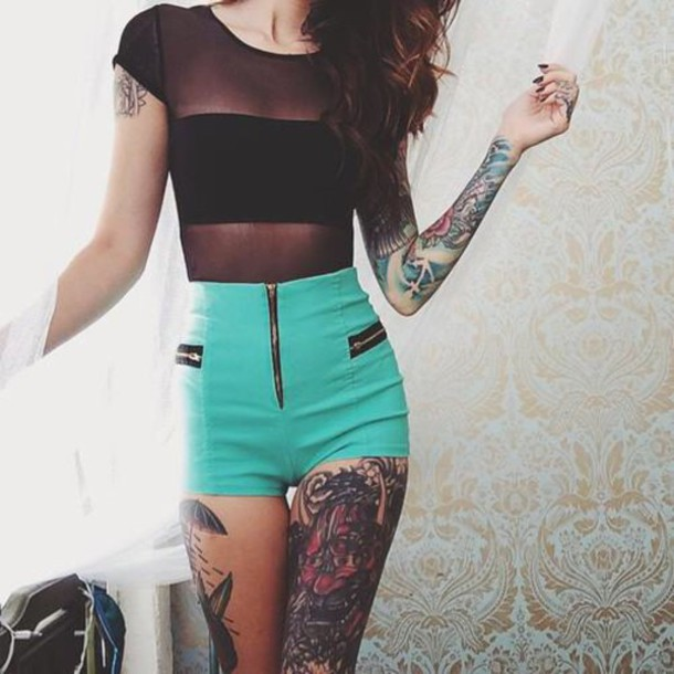 shorts turquoise zip High waisted shorts pockets t-shirt green shorts summer outfits tumblr outfit girl inked shirt black t-shirt top black top hair girly blouse aqua blue high waisted light blue jeans teal