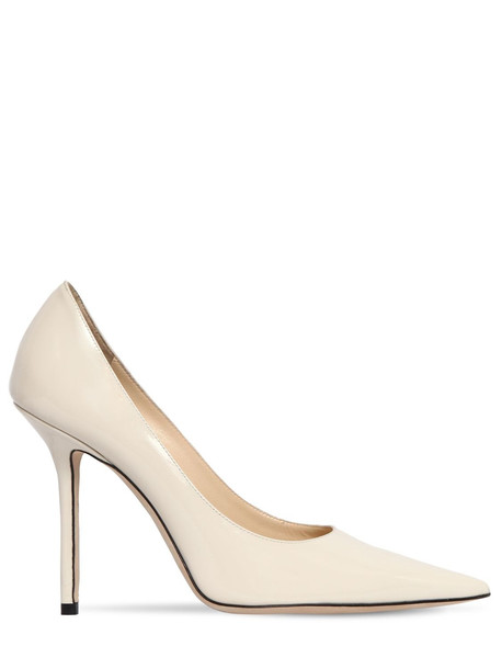 JIMMY CHOO 100mm Love Patent Leather Pumps in white