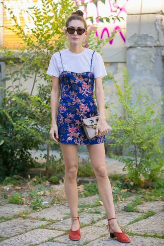 bag floral red shoes red sandals sandals shoes printed dress mini dress dress white top white shirt sunglasses