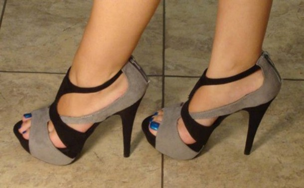 Shoes: grey shoes, high heels, black shoes, nude, grey, black ...