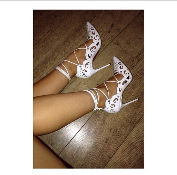 shoes white heels heels strappy designer heel red bottom lace front kylie jenner white