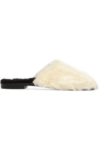 fur faux fur slippers cream shoes