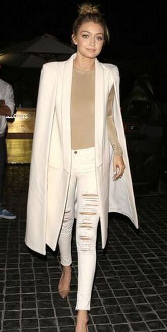 coat gigi hadid style cape blazer jacket white cape sleeves gigi hadid style celebrity celebrity sytle celebrity style celebstyle for less