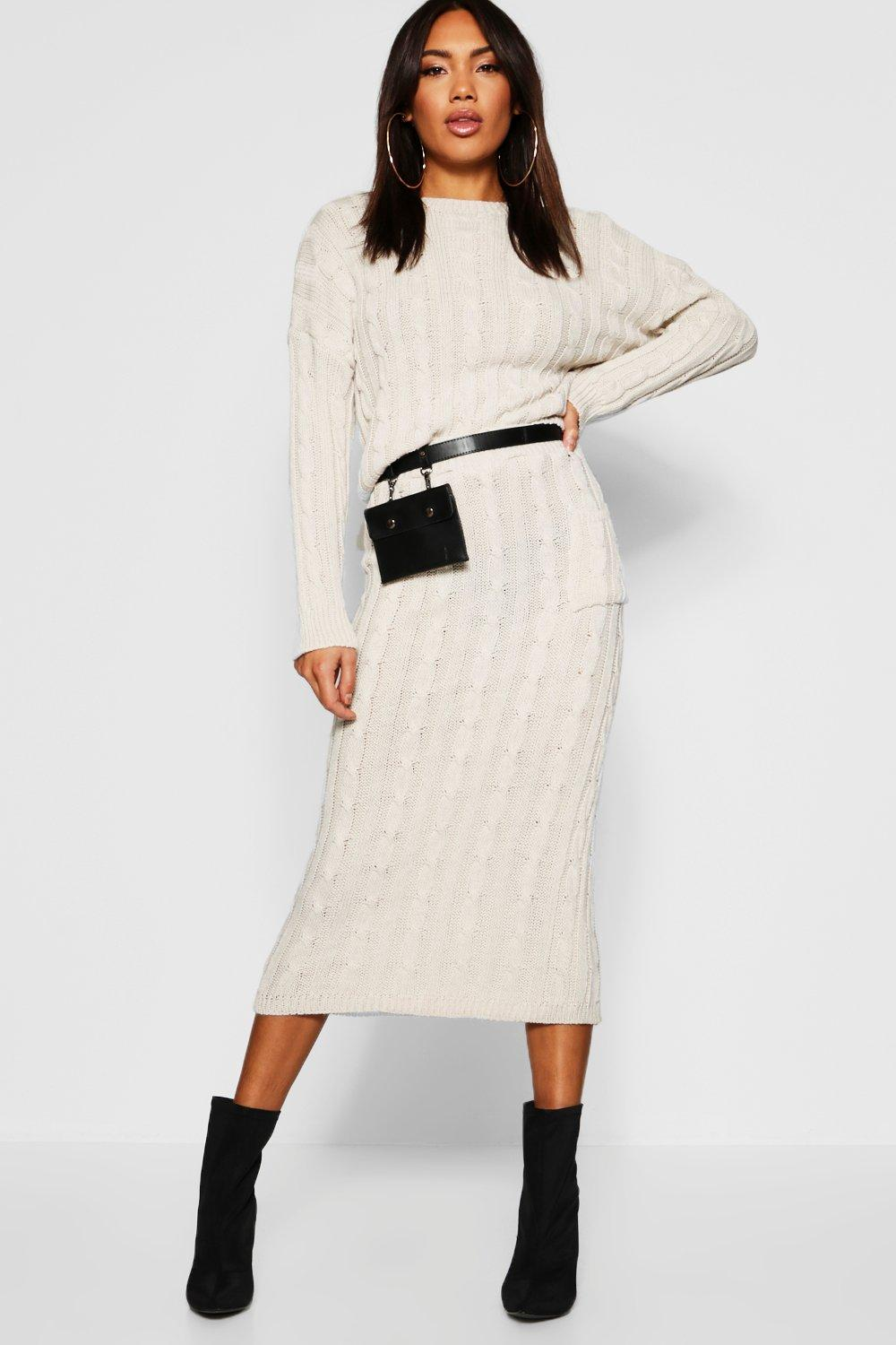 Cable Knit Jumper And Skirt Set   Boohoo