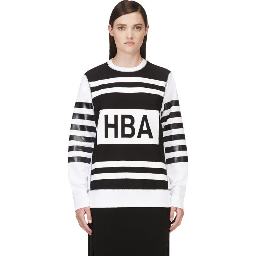 Hood by Air - SSENSE Exclusive Black & White Striped Sweatshirt