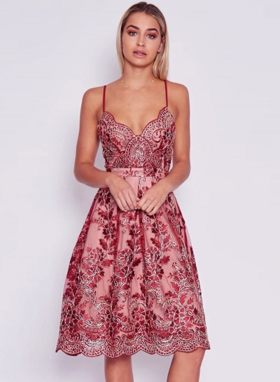 Women's Spaghetti Strap Floral Lace Embroidery Party Dress - ROAWE.COM