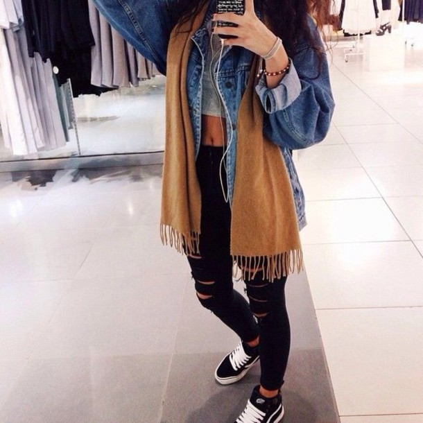 jacket denim jacket scarf black ripped jeans crop tops camel yellow gold winter outfits spring cool classic beautiful grunge jeans pants top outfit adidas oversized jacket hight waisted shoes grunge jean jacket jean jackets tan scarf denim jacket