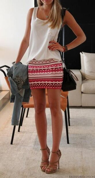 shoes aztec skirt tan heels bag skirt tank top tribal skirt clothes tribal pattern shirt jacket blouse short pink tight summer spring cute cool sweet beautiful pattern ethnic pink tribal skirt sequins stripes