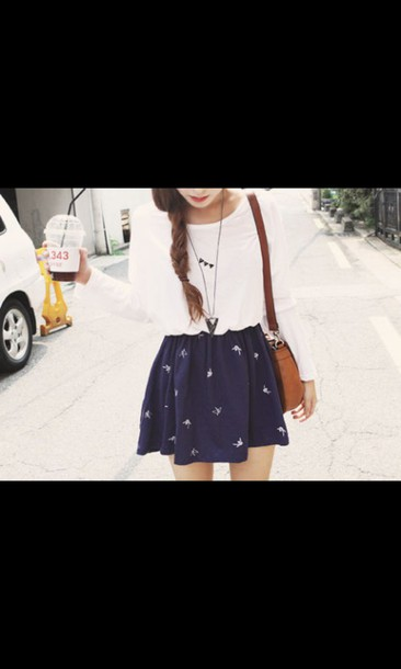 skirt navy tumblr outfit bag necklace amazing peri.marie