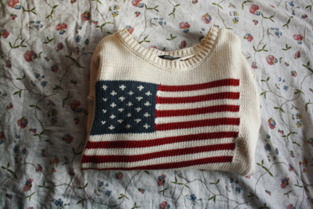 sweater red usa white blue american flag us flag lovely pretty american flag flag jumper