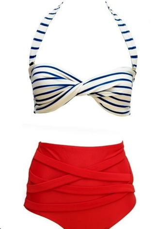 swimwear pin up bikini retro bikini high waisted bikini