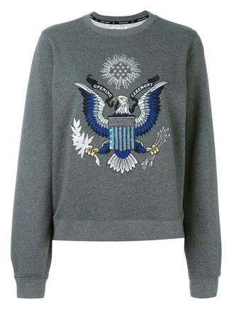 sweatshirt embroidered eagle grey sweater