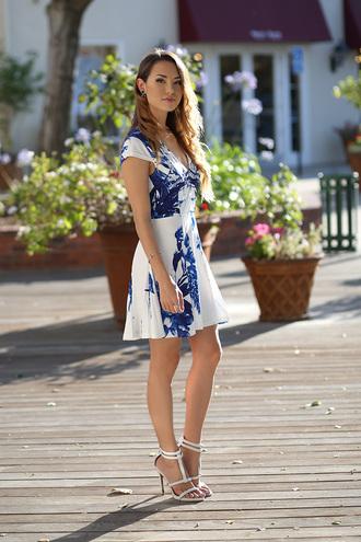 hapa time blogger dress blue dress white dress summer dress romantic summer dress romantic dress