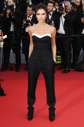 pants top bustier bustier top victoria beckham red carpet cannes shoes pumps