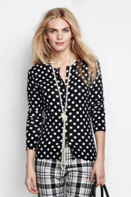 Women's Supima Print Cardigan Sweater from Lands' End
