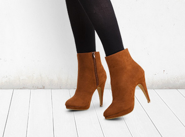 Shoes: heels, brown ankle boots, high heels, ankle boots - Wheretoget