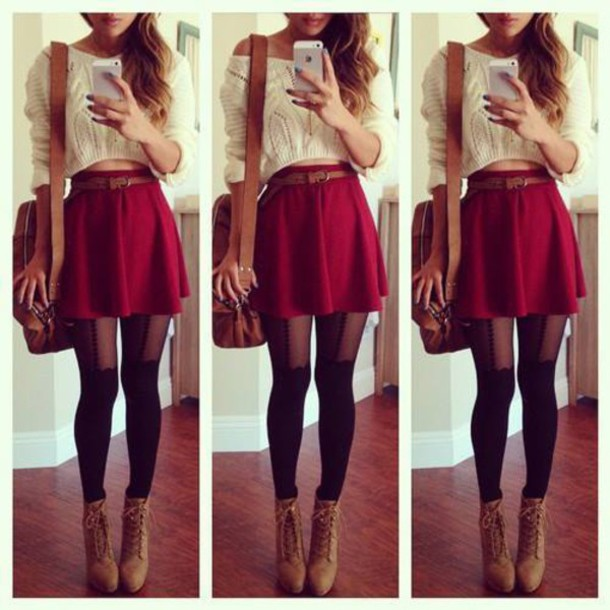 94d0a3fa15c fashion skirt red jullnard jumper sweater white belt hairstyles bag boots  brown leather boots tights black