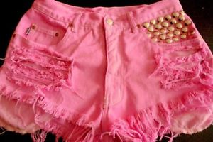 Vintage Frisco H&M High Waisted Pink Ombre Shorts Ripped Studded Size 10-12 | eBay