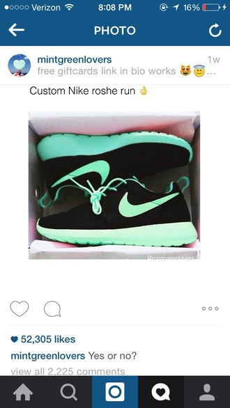 shoes black nike roshe run teal