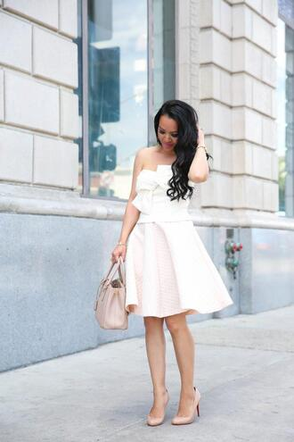 stylish petite blogger top skirt shoes jewels nail polish white dress handbag pumps high heel pumps spring outfits