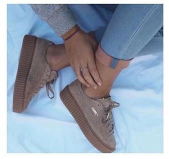 shoes puma puma sneakers brown cream gold love cuteshoes cute shoes cute