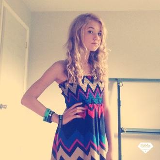 dress colorful dress zig zag dress strapless dress