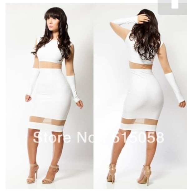 dress white long sleeves knee length