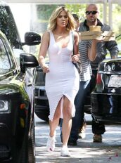 dress,white,white dress,bodycon dress,midi dress,sneakers,khloe kardashian,kardashians,summer dress,party dress,sexy party dresses,sexy dress,party outfits,summer outfits,summer,celebrity,celebrity style,celebstyle for less,birthday dress,clubwear,casual dress