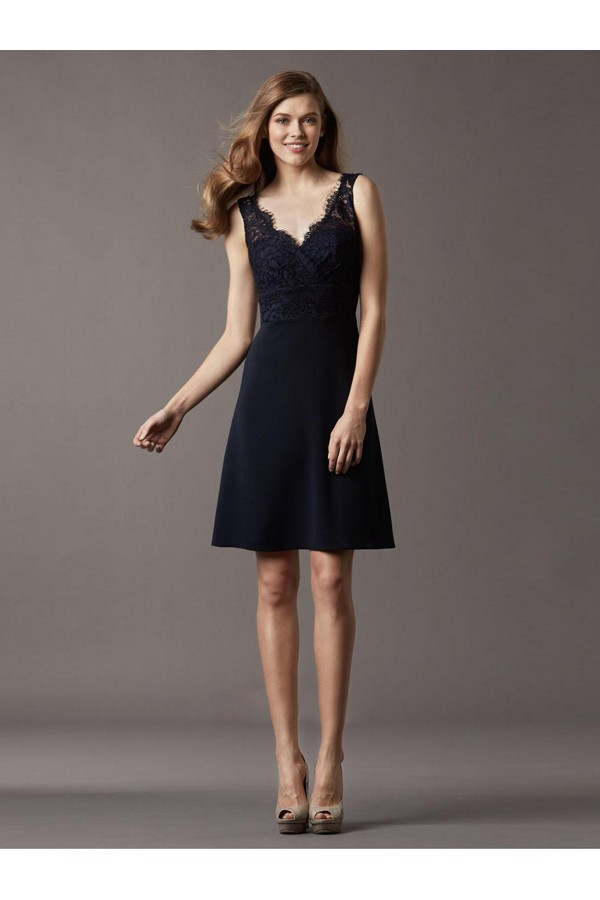 Gorgeous A-line Straps Sleeveless Elastic Woven Satin Cocktail Dresses With Lace