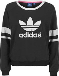 Adidas logo crew w sweater black white