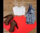 shirt,crop tops,crop tops embrodering,white crop tops,summer,cut out white crop tops summer,shoes,skirt,jacket