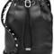 Leather alpha bucket bag