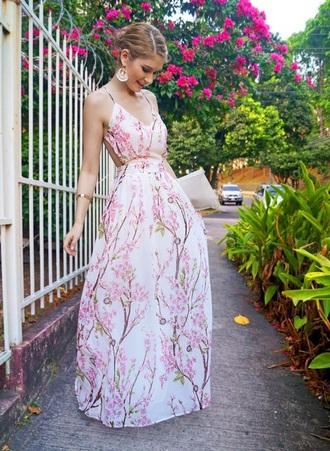 dress cherry blossom maxi dress backless