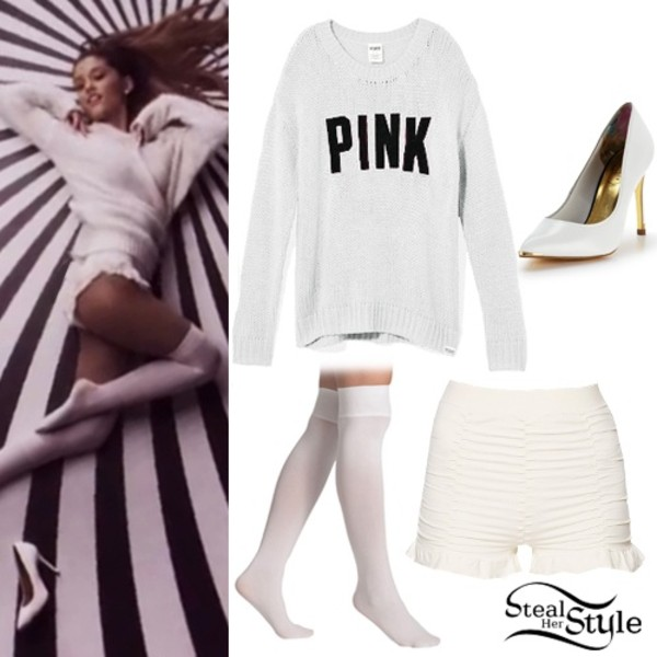 sweater ariana grande shorts underwear pants white victoria secret pink sweater