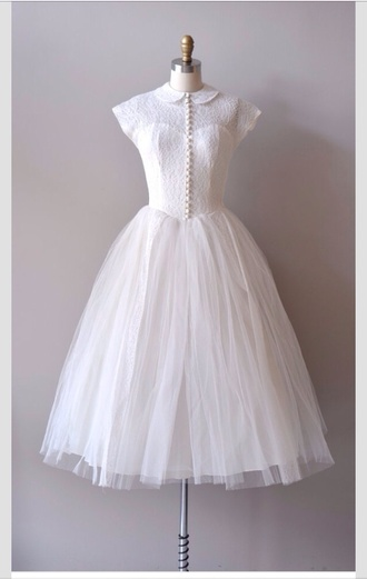 dress white dress vintage lace dress vintage wedding dress buttons 1950s old school colar tulle skirt hipster wedding