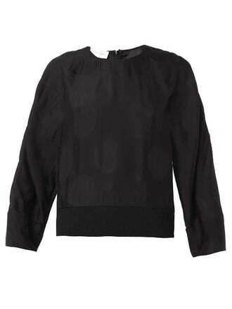 top jacquard silk black