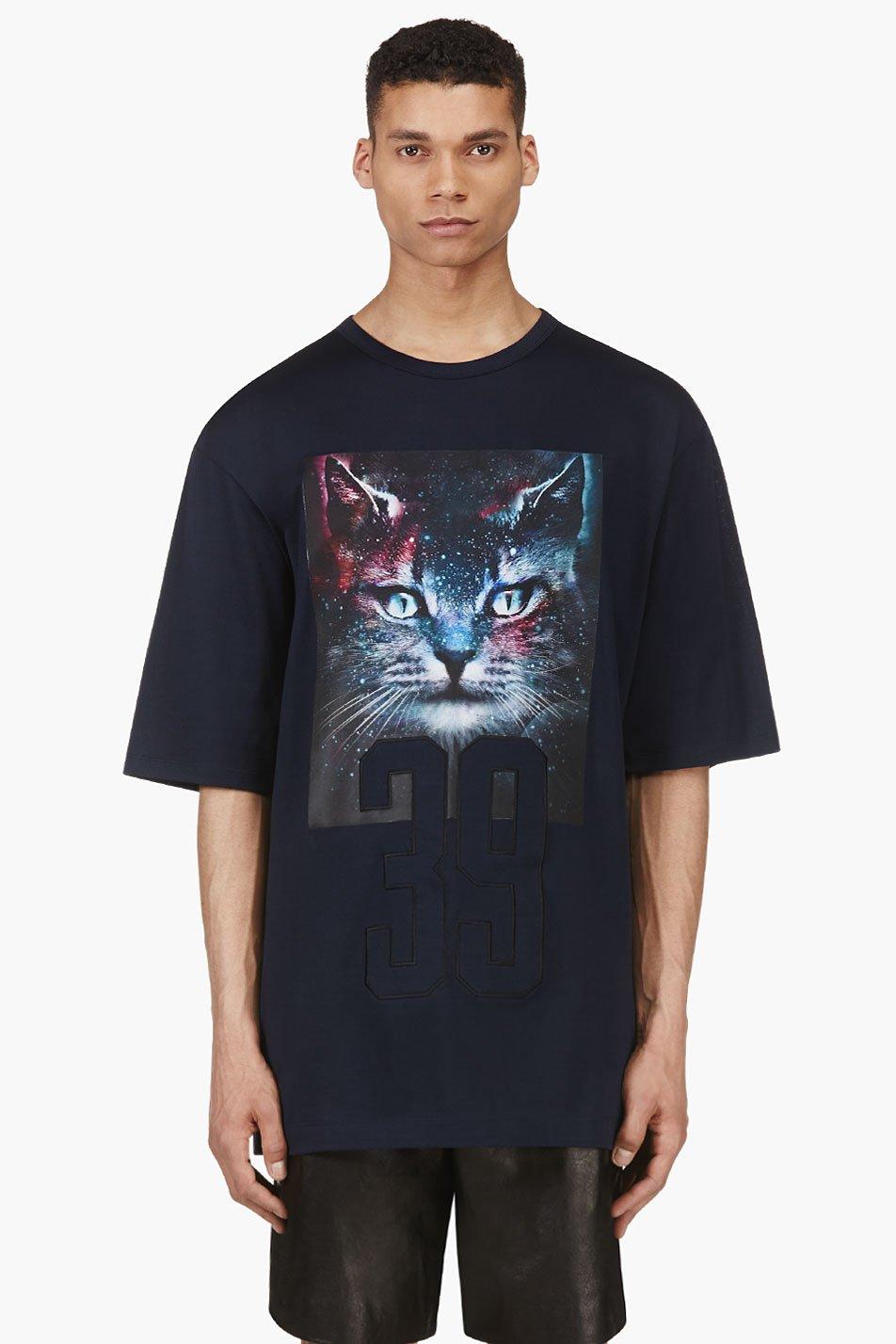 Juun.j ssense exclusive blue and green cosmic cat t_shirt