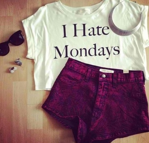 white funny t-shirt hate mondays tshirt fall shorts jewels sunglasses shirt i hate mondays white shirt top red monday