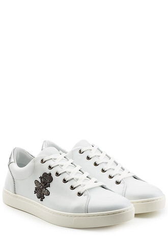 sneakers. embroidered sneakers leather white shoes