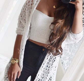 top white crop tops fashion mesh girl cute jeans cardigan