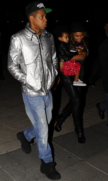 beyoncé Jay Z silver coat menswear windbreaker