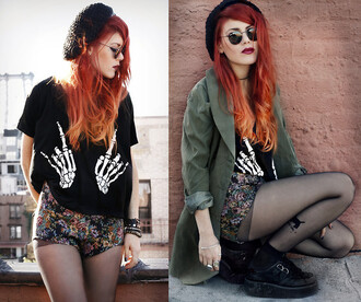 shirt skeleton skeleton shirt black black shirt camo jacket army green jacket floral flowered shorts beanie hat tights sunglasses ring skeleton hand black t-shirt black graphic t-shirt creepers black tights black choker shoes shorts