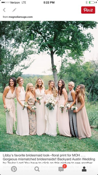 dress dress mismatched blush neutral bridesmaid where to get the floral dresss