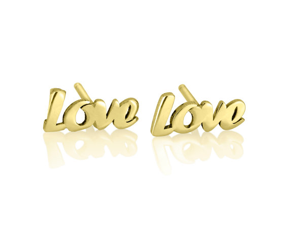 Personalized Gold Love Earrings  by KHandmadeCreations on Etsy