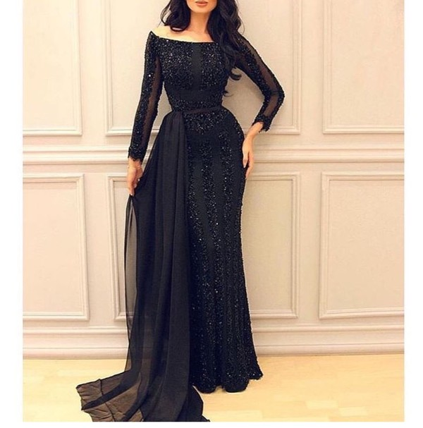 dress black lace glitter mesh mermaid formal graduation fashion killer fashion statement arab waist train sparkle sparkle long hair chiffon formal dress graduation dress
