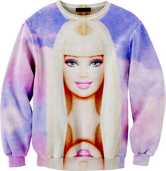shirt barbie sweatshirt barbie girly girly grunge pink and purple sweater barbie top sweatshirt blouse