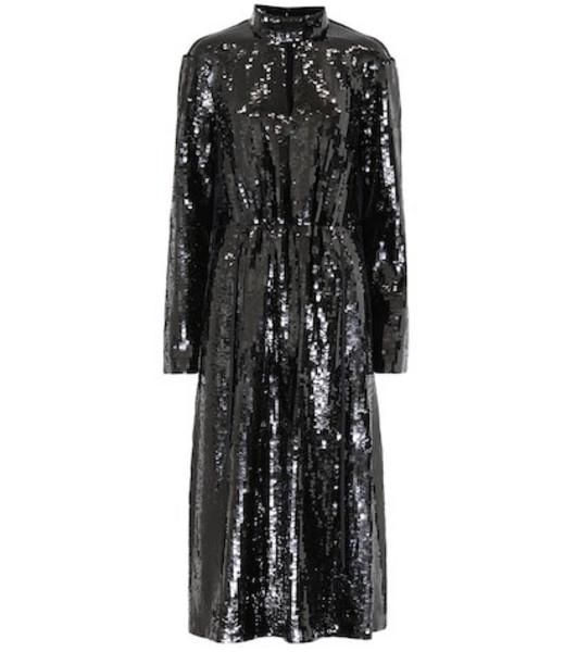Tibi Avril sequined midi dress in black