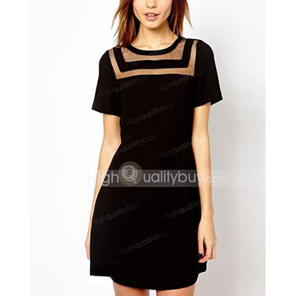 Fashion Slim Fit Short Sleeve Neckline Perspective Dress For Women_23.3