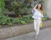 the material girl,blogger,jeans,bag,sunglasses,shoes,one shoulder,ruffle,ruffled top,shoulder bag,yellow,mini bag,white jeans,flats,mirrored sunglasses,blue top,yellow bag,espadrilles